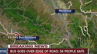Telluride-bound tour bus goes over edge of road on Highway 145 in Montrose County - Video