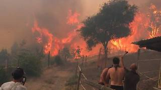Wildfire Burns Close to Homes in Corsica - Video