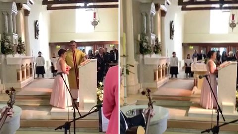 Emotional watch – teenager sings mum's favourite song as she walks down aisle