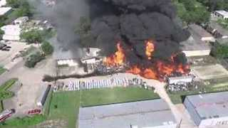 Drone Captures Aerial View of Huge Fire at Houston Warehouse - Video
