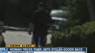 Woman tricks thief, gets stolen goods back - Video