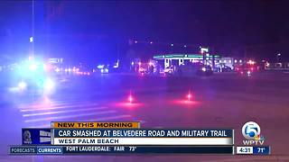 Vehicle crash closes southbound Military Trail near PBIA - Video