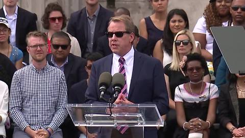 Bill Ford, Jr. speaks at Ford celebration at Detroit train station
