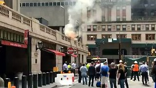 New Yorkers Watch Smoke, Flames Rise from Grand Central Terminal Fire - Video
