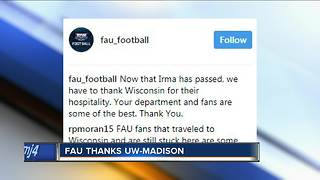 FAU thanks UW-Madison for hospitality during storm - Video