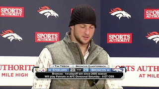 Tim Tebow Postgame After Beating Steelers - Video