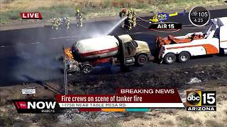 Propane tanker crash sparks brush fire on I-17 north of Valley - Video