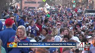 Fans celebrate Jayhawks victory against Duke - Video