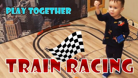 Racing of trains. Fun multiplayer game for family and friends
