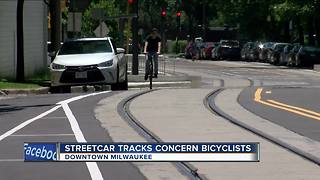 'The Hop' Milwaukee streetcar tracks raises bicycle safety concerns - Video