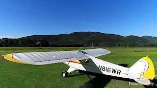 Landing Supercub at Plymouth NH Municipal Airport