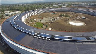 Drone Video Shows New Apple Campus Near Completion - Video