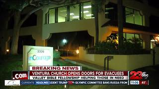 Ventura church ties opens its doors to evacuees - Video