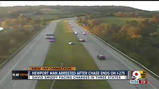 Driver arrested after leading police on chase through three states - Video
