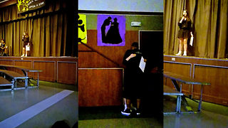 Emotionally-charged moment girl asks stepdad to adopt her during school talent show with original song