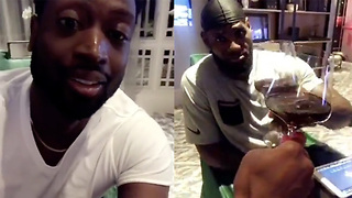 LeBron James & Dwyane Wade Celebrate Reunion with a Bottle of Wine - Video