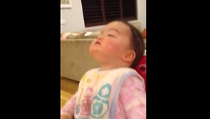 Baby discovers her nose for the first time - Video