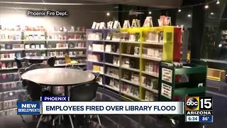 Library employees fired over flood - Video