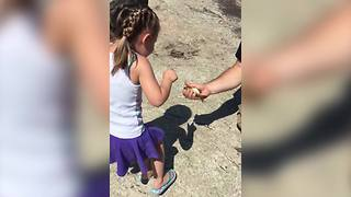 Adorable Tot Girl Catches Her First Fish