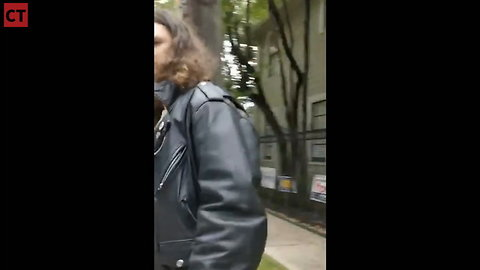 Leftist Calmly Takes Down Cruz Signs, Suddenly Appears Possessed & Charges Owner
