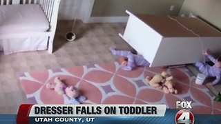 Toddler saves twin from fallen dresser - Video