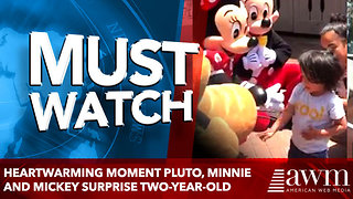 Heartwarming moment Pluto, Minnie and Mickey surprise two-year-old - Video