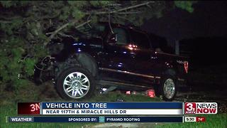 Vehicle into tree, 117th and Miracle Hills Drive - Video