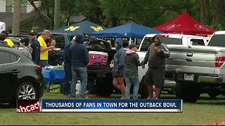 Thousands of fans in Tampa for the Outback Bowl - Video