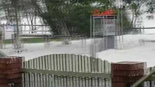 Cyclone Debbie Causes Foam to Blow in Sarina Beach, Queensland - Video