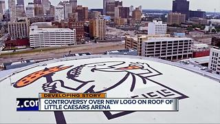 Controversy over new logo on roof of Little Caesars Arena - Video