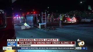 Two killed in wrong-way crash along I-5 - Video