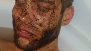 Guy ironically falls asleep with coffee on his face in the tub  - Video