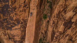 Drone Captures Aerial View of Rock Climbing in Moab, Utah - Video