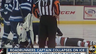 Roadrunners captain collapses on ice - Video