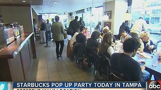 Starbucks pop-up party today in Tampa - Video