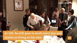 Great-grandfather shows off dance moves at 100th birthday party - Video