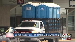 Crews trying to restore water service to Terminal B at KCI - Video