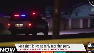 Phoenix police investigating after man shot at killed at Laveen house party - Video