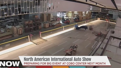 Setup underway for the auto show