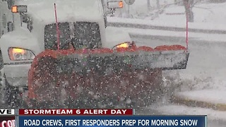 Indianapolis road crews prepare for morning snow fall - Video