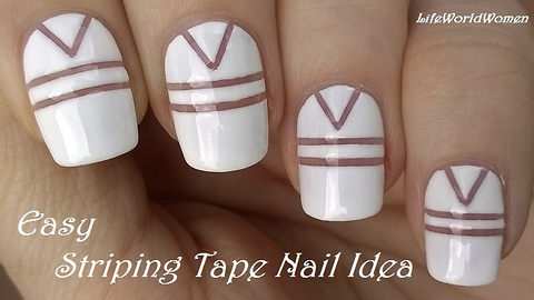 White striping tape nail design