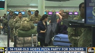 Local kid throws pizza party for departing soldiers - Video