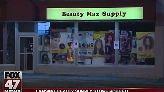 Lansing beauty supply store robbed - Video