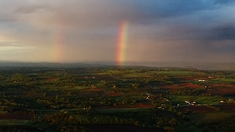 Four mile drone flight captures stunning rainbow footage