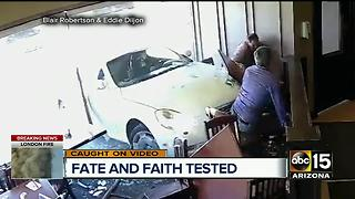 Car slams into restaurant, hits psychic - Video