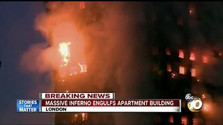 Massive fire engulfs London apartment building - Video