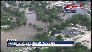 Aerial view of Burlington, Wisconsin flooding
