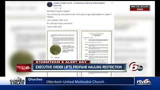 Executive order lifts propane hauling restrictions in Indiana - Video