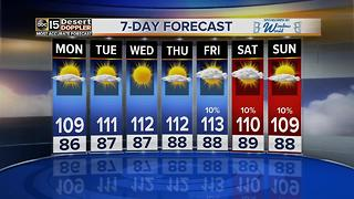 Temperatures warm up this week, over 110 for 7 days in a row - Video