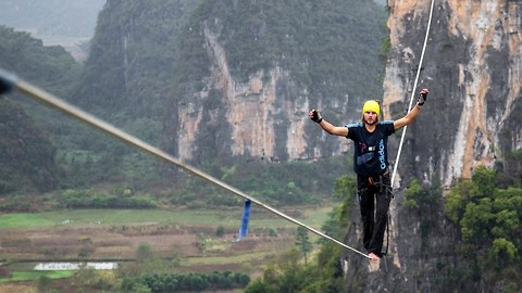 World Record Highline Crossing: Daredevil's 375m Highline